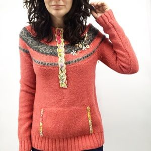 Free People Wool Knit Sweater with Pouch Size XS